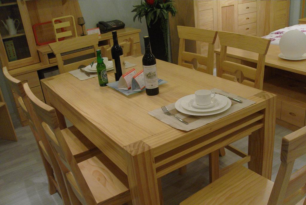 宜伟松木系列YW-UF-36餐桌餐椅(1+6)