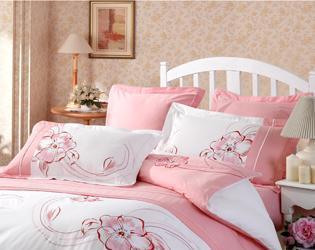 红富士床上用品高级斜纹绣花系列妙丽花语(粉红