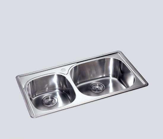 得而达双槽不锈钢水槽(三孔)SS12002-CSS12002-C