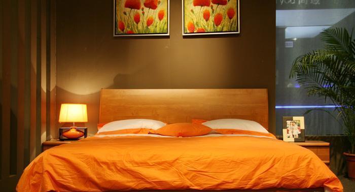 健威家具-加州缘系列-梨木床(橘色)梨木床(橘色)