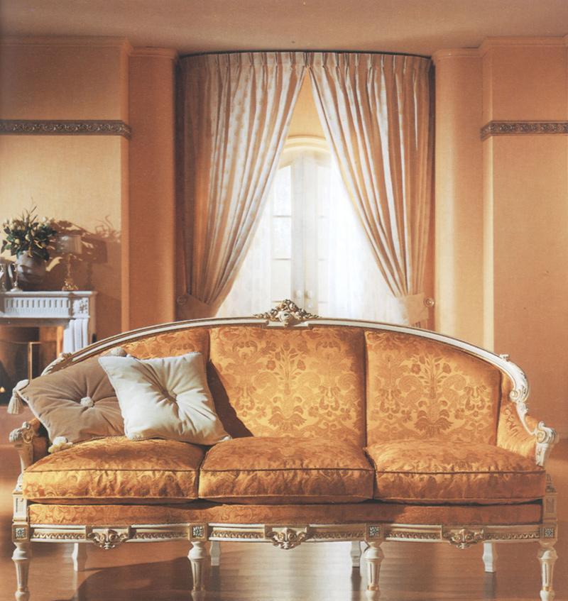 罗浮居金色三人沙发意大利SILIK家具六件套