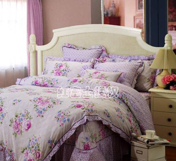 红富士FA-8全棉印花床裙四件套-春满庭・粉紫春满庭・粉紫