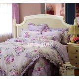 红富士FA-8全棉印花床裙四件套-春满庭・粉紫