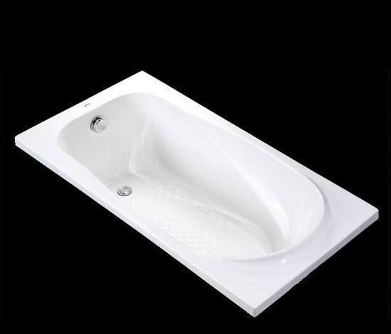 得而达带扶手安装孔的白色压克力浴缸艾沙系列DT