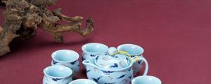 恒福茶具青瓷双福茶壶组1壶6杯