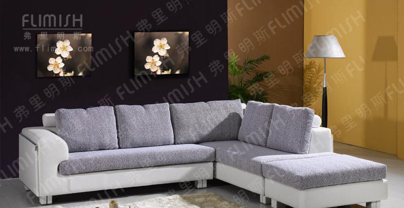 弗里明斯B101时尚休闲皮配布艺沙发B101