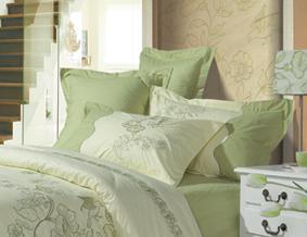 红富士床上用品高级斜纹绣花系列莺歌燕舞(绿)