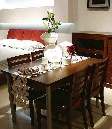 诺捷餐厅家具餐桌8N009花梨木色8N009