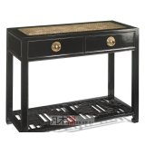 凡木居现代中式系列A4010藤面马蹄两抽桌(带花板