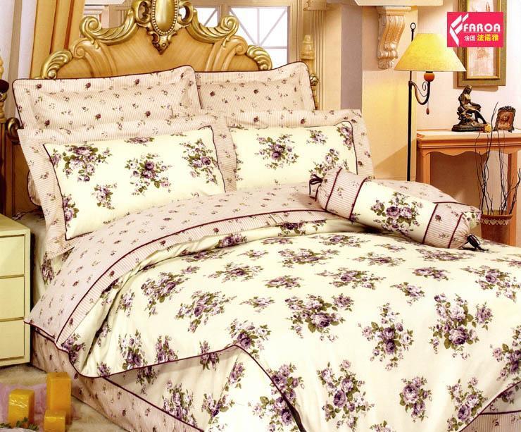 法诺雅床上用品四件套带荷叶边全棉斜纹床裙式印SJ36