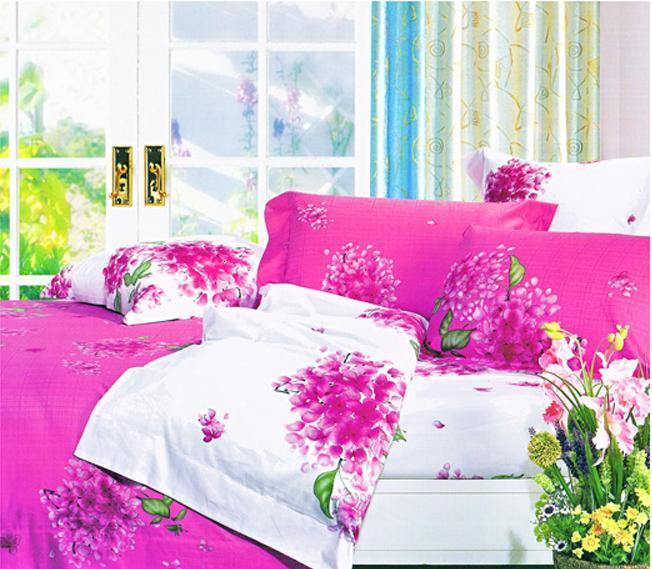 爱可婚庆系列尼斯绣球花床上用品提花加印花全棉