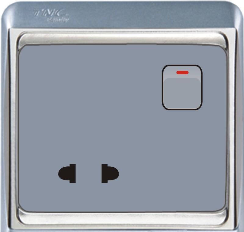 TNC A系列一位单极开关二极插座(银色)