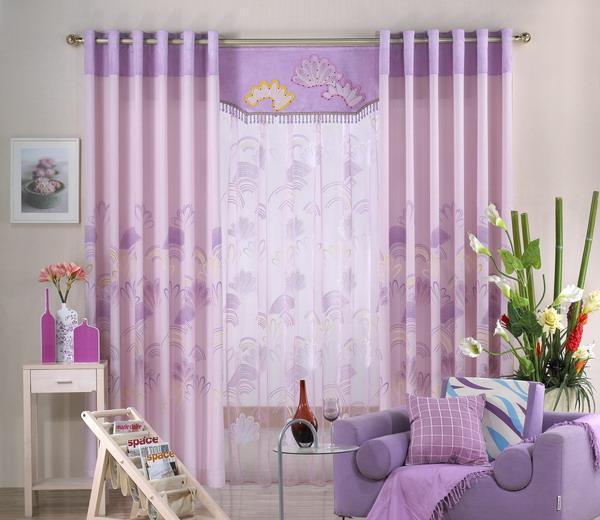 My布易窗帘现代时尚涤棉窗帘紫色思念MYB8412MYB8412