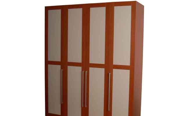 奥格美国红樱桃套荷花白色系列A06四门衣柜A06四门衣柜