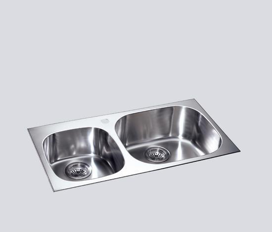 得而达双槽不锈钢水槽(双孔)SS12003SS12003
