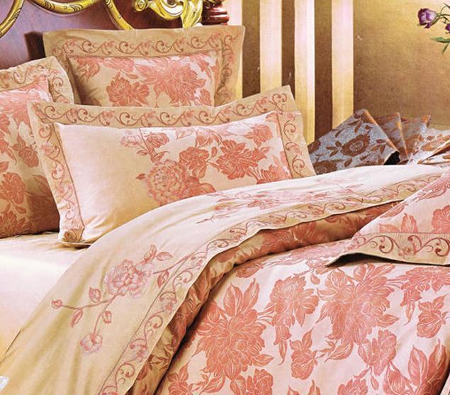 爱可爱登堡贵族锦城牡丹花床上用品色丁提花四件