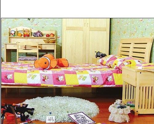 香柏年松木儿童床横靠单体床