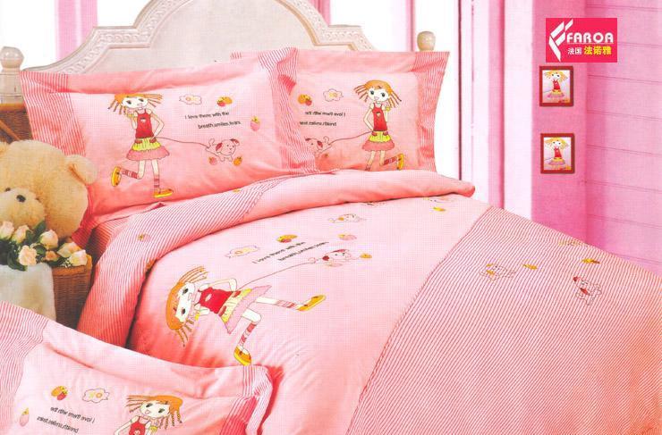 法诺雅床上用品四件套全棉儿童卡通画印加绣花CWCW15