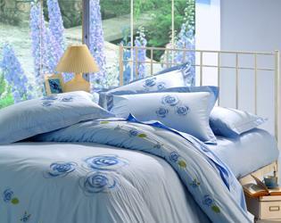 红富士床上用品高级绣花系列风和日美(蓝)