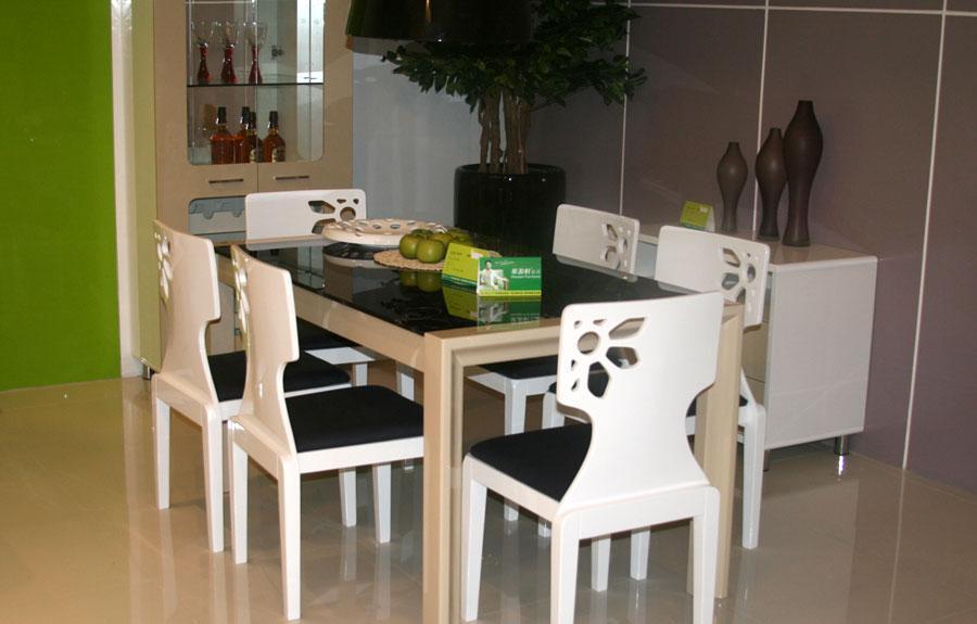 华源轩白亮光系列T2601餐桌T2601