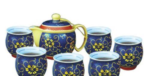 恒福茶具花开富贵茶壶组1壶6空心杯