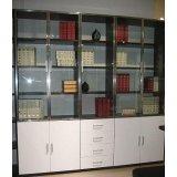 亚美特书房家具五门书柜黑胡桃套白漆