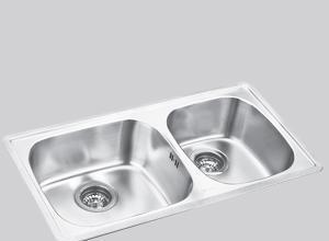 得而达双槽不锈钢水槽(双孔)SS12023SS12023