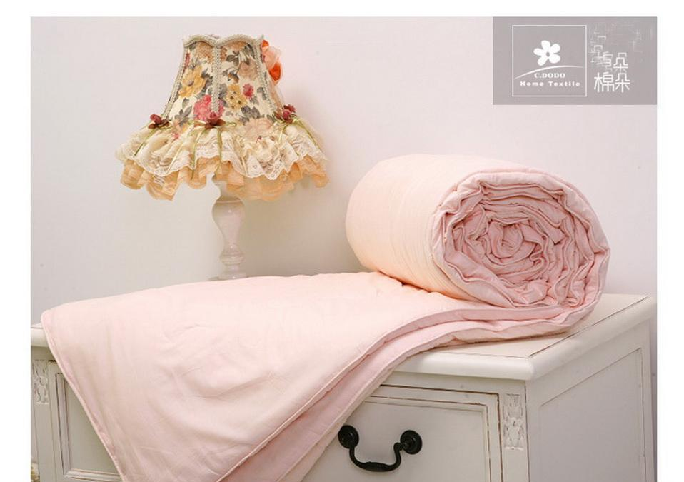 博洋棉朵床品高档蚕丝被-粉红