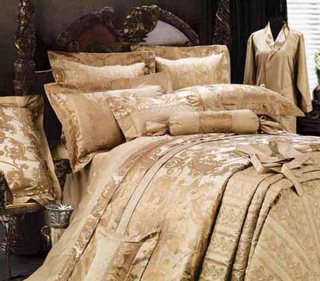 百丽丝15081-k15全棉缎纹贡缎桑蚕丝提花套件-名