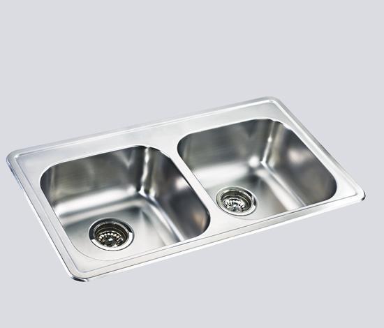 得而达双槽不锈钢水槽(四孔)SS12015-DSS12015-D