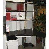 亚美特书房家具电脑桌黑胡桃套白漆
