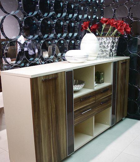 标致餐厅家具餐边柜(胡桃木+奶茶色)餐边柜