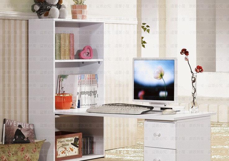 彭友家私XH-0189白色简洁书桌+书架组合