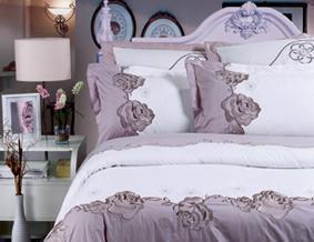 红富士床上用品高级斜纹绣花系列玉秀凝香(灰)