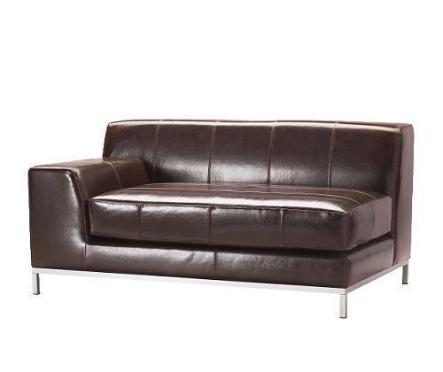 宜家克莱弗(深褐色/黑色)组合皮双人沙发<br />