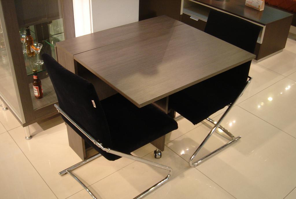 国安佳美折叠餐桌灰拉丝系列26J0118