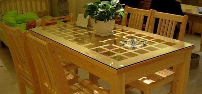 龙森C-071松木玻璃餐桌C-071