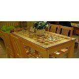 龙森C-071松木玻璃餐桌