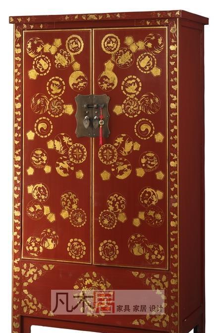凡木居现代中式系列A3017红漆描金柜CW05A3017