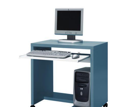 宜家附脚轮电脑桌麦克尔(蓝绿色/白色)麦克尔(蓝绿色/白色..