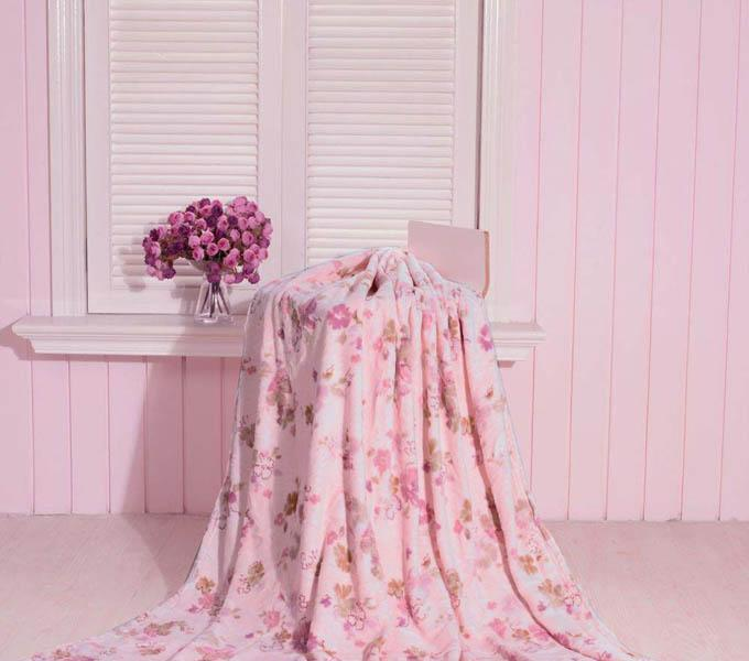 珑棉家纺印花珊瑚绒毯粉红印花珊瑚绒毯粉红