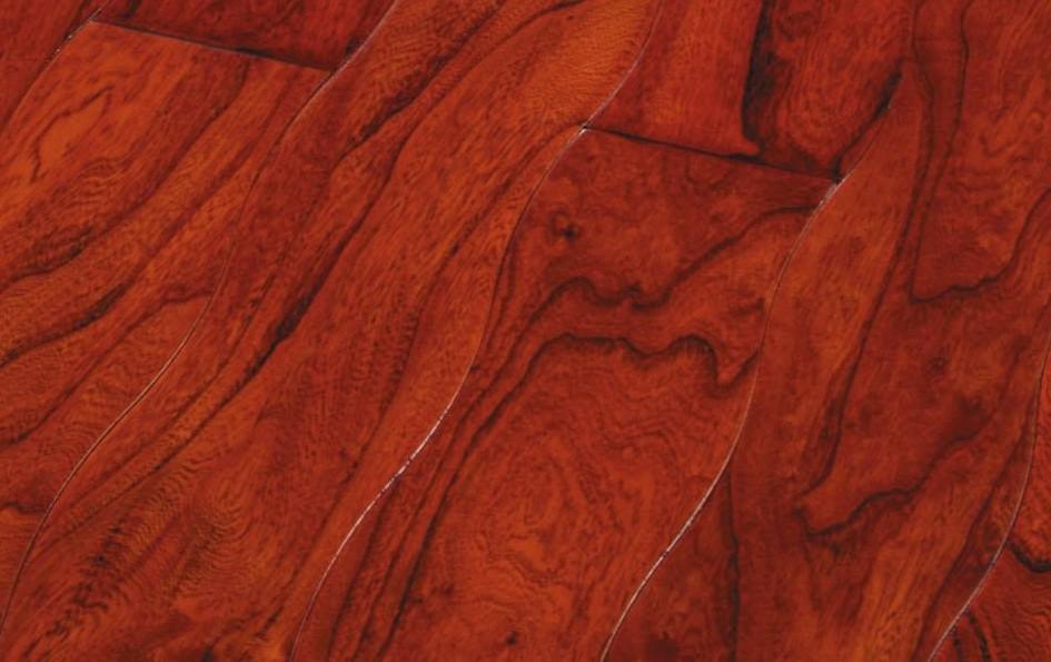 新绿洲曲线仿古系列南国红豆实木地板