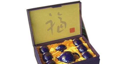 恒福茶具蓝牡丹茶壶组1壶6杯