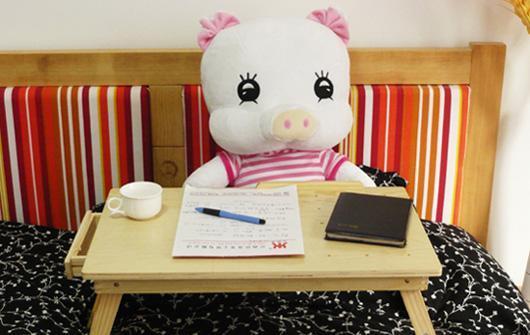 美好家笔记本电脑桌-松木可升降散热松木可升降散热