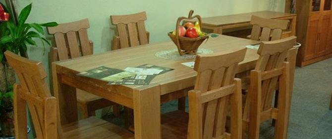 龙森061#榉木餐桌(含六把椅子)061#