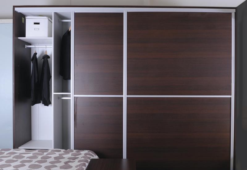 百V(3米黑橡)滑门衣柜黑橡衣柜