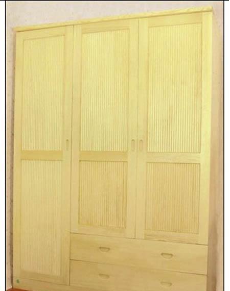香柏年实木家具三门双抽立线衣柜C101C101