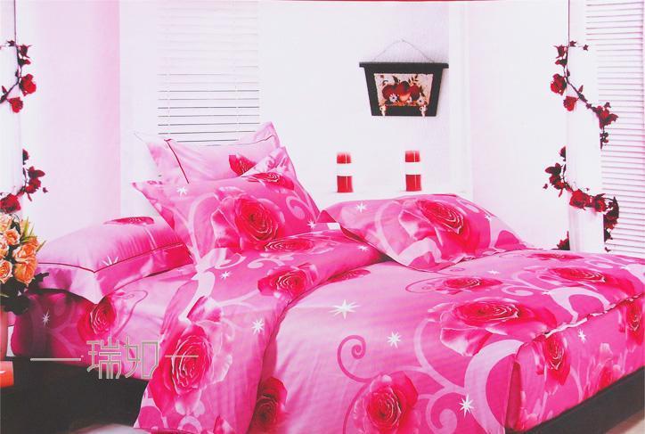 瑞如家纺环保活性印花精梳棉婚庆床上用品HX17四