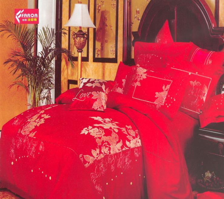 法诺雅床上用品四件套全棉斜纹婚庆大红色绣花HYHY29