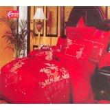 法诺雅床上用品四件套全棉斜纹婚庆大红色绣花HY